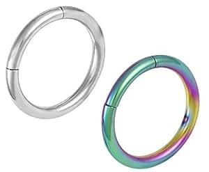 Amazon.com: Set of 2 Seamless Cartilage Hoop Earrings: 16g ...