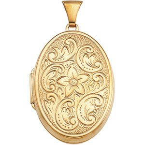14K Yellow Gold 31.50X22.00 MM Oval Shaped Locket Ring Size 6