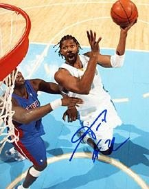 Nene Autographed Denver Nuggets Basketball 8x10 Photo - Autographed NBA Photos by Sports+Memorabilia