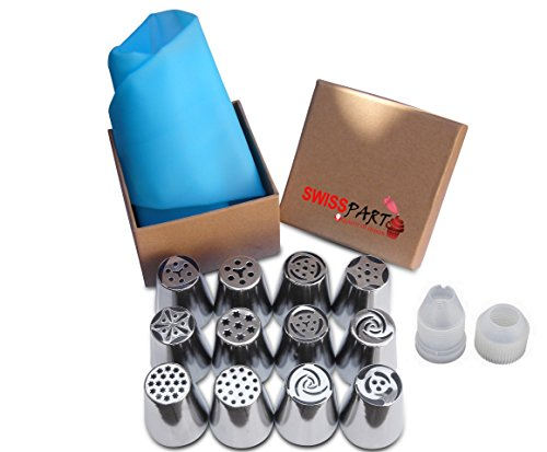 SWISS PART 12pcs Stainless Steel Russian Cake Decorating Icing Tips Kit Extra Large Pastry Piping Nozzles and 18