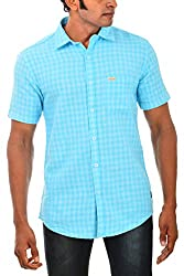 Indipulse Men's Casual Shirt (IF1160303AHS, Green, M)