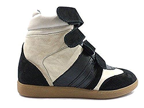 scarpe donna SERAFINI 40 sneakers nero beige pelle camoscio KY208