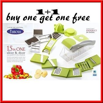 Famous 15 In One Slicer & Dicer Fruit & Vegetable Cutter Multi Chopper (BUY ONE GET ONE FREE 1+1)