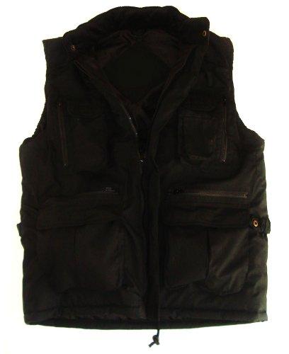 Mens Large Black Padded Bodywarmer 14 Pocket Heavy Duty Jacket