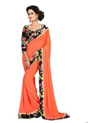 Fashion205 Women Faux Georgette Saree (OCO-AR8-1064_Orange_Orange_Free Size)