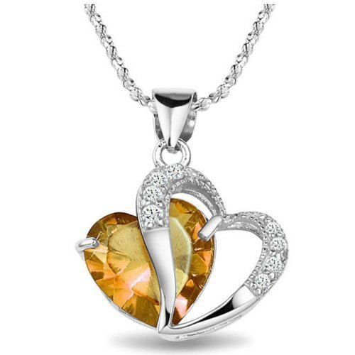 Chaomingzhen Charm Rhodium Plated 925 Sterling Silver Diamond Accent Yellow Crystal Love Heart Shaped Pendant Necklaces for Women Fashion Jewellery for Girlfriend Chain18