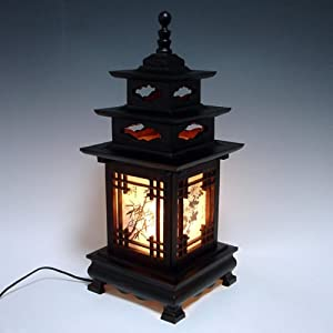Carved Wood Lamp Shade with Three Story Pagoda Design Handmade Art Deco Lantern Brown Asian Oriental Bedside Bedroom Accent Unusual Table Light       Customer review and more information