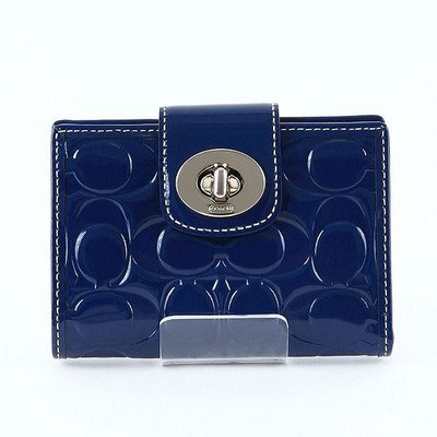 New Coach Turnlock Embossed Navy Blue Patent Leather Medium Wallet ...