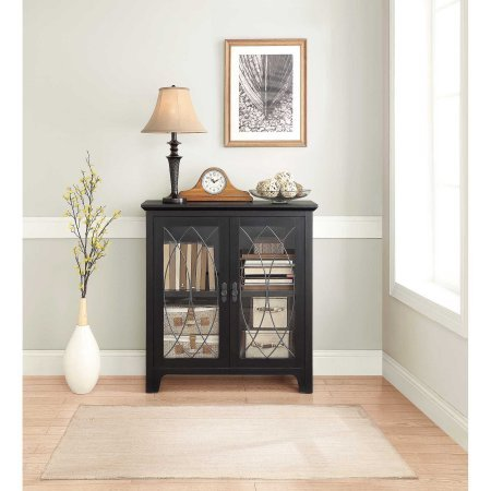 Whalen Dining and Accent Cabinet, Black | Cabinet Pulls with Gunmetal Finish (Cabinet With Glass Doors White compare prices)