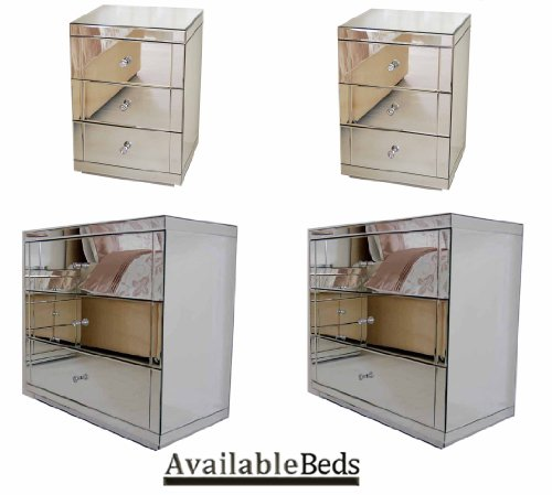 Mirrored Bedroom Furniture Package, 2X 3 Drawer Low Chest, 2X Bedside Tables