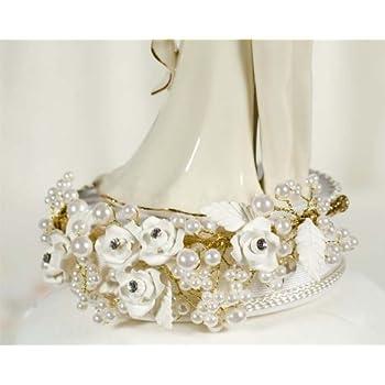 Vintage Rose Pearl Wedding Cake Topper