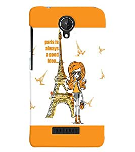 Fuson Eiffel Tower Girl Back Case Cover for MICROMAX CANVAS SPARK Q380 - D4082