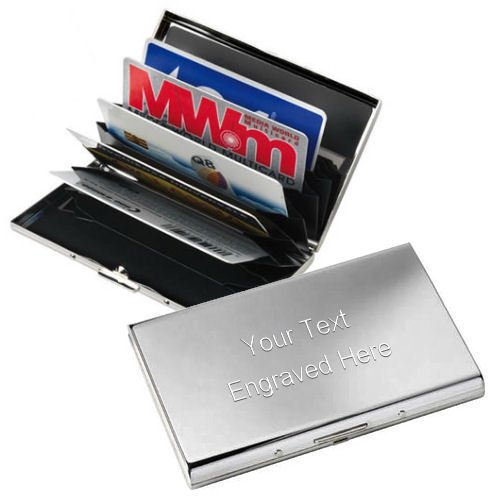Personalised Chrome Plated Business / Credit Card Case Engraved Executive Gift
