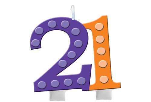 Creative Converting Bright and Bold 21th Birthday Molded Numeral Cake Candle