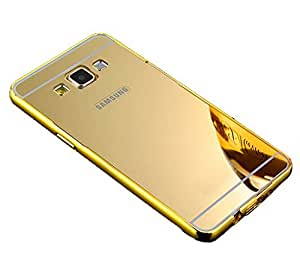 Droit Luxury Metal Bumper + Acrylic Mirror Back Cover Case For Samsung ON5 Gold + Flexible Portable Thumb OK Stand by Droit Store.