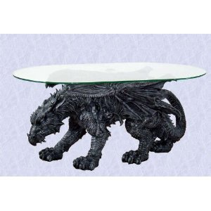 Gothic Medieval Mystical Dragon Coffee Table Glass Top New