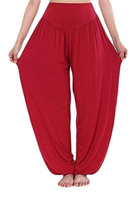 JustinCostume Womens Modal Elastic Waistband Fitness Yoga Harem Pants, DarkRed, XXL