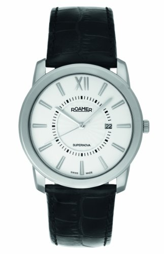 See Roamer of Switzerland Men's 935856 41 23 09 Supernova 42mm White Dial Black Leather Date Watch Details