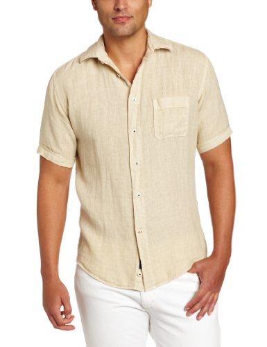 Benson Men's Linen Solid Short Sleeve 1 Pocket Woven Shirt, Beige, Small
