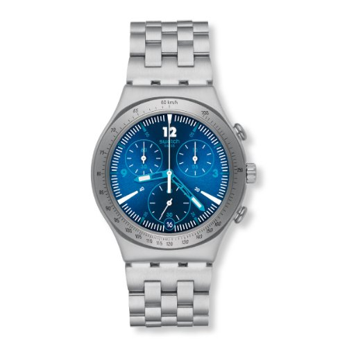 Swatch Unisex-Armbanduhr Classic Rhythmic Blue Chronograph Quarz Edelstahl YCS575G