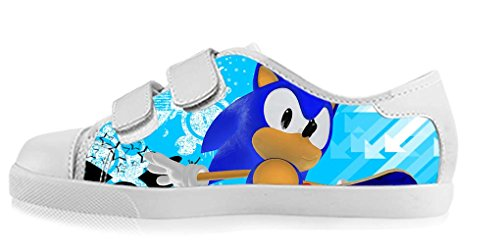 LeonBin Custom Sonic The Hedgehog Girl's High-top Canvas Shoes Casual Sneakers For Kids (Sonic The Hedgehog Sneakers)