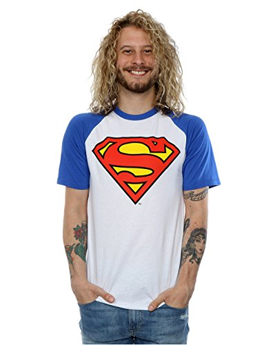 DC Comics Uomo Superman Logo Baseball T-shirt Medium Bianco / Royal Blue