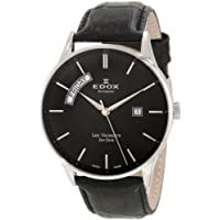 Edox 83010 3N NIN Les Vauberts Automatic Black Leather Day-Date Men's Watch
