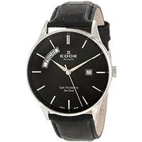 Edox 83010 3N NIN Les Vauberts Automatic Black Leather Day-Date Men's Watch