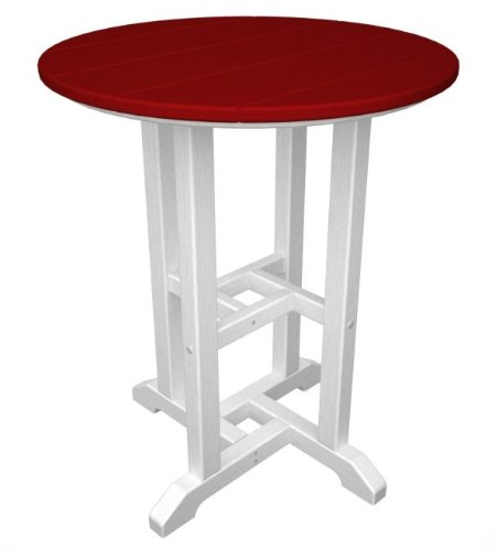 "24"" Recycled Earth-Friendly Outdoor Patio Bistro Table - White & Candy Apple Red"