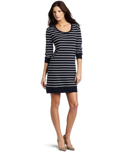C&C California Women's 3/4 Sleeve Stripe Sweatshirt Dress
