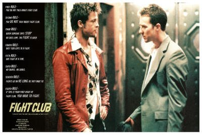 Professionally Framed Fight Club Movie (Rules of Fight Club) Poster - 24x36 with RichAndFramous Black Wood Frame