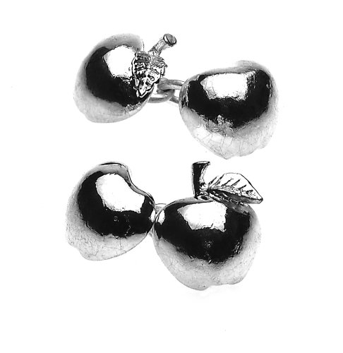 Christopher Simpson Silver Plated Apple Cufflinks