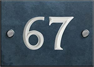 Engraved Slate House number sign - 61 to 80 (select your number here) - number 67