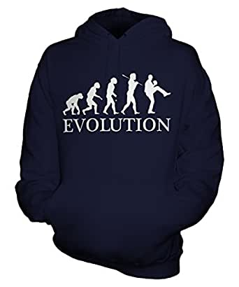 Baseball Pitcher Evolution of Man - Unisex Hoodie - Mens/Womens/Ladies, Size X-Small, Colour Blueberry Bean
