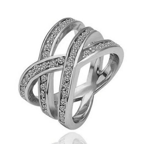 Yoursfs Birds Nest Triple Row Twisted Austrian Crystal Cocktail Wide Ring 18k White Gold Plated(7) (Cheap White Gold Rings compare prices)