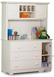 Windsor 3 Drawer Changing Table with Hutch in a White Finish