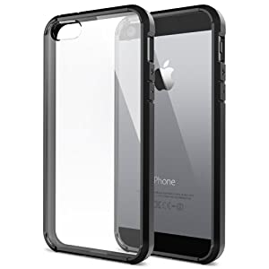 iPhone 5S Case, Spigen® [AIR CUSHION] [+Screen Shield] Apple iPhone 5S Case Bumper ULTRA HYBRID Series [Black] [1 Premium Japanese Screen Protector + 2 Design Graphics Included] Air Cushioned Bumper Case with Scratch-Resistant Clear Back Panel for iPhone 5S / 5 - ECO-Friendly Packaging - Black (SGP10515)