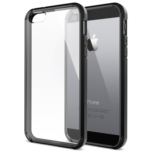 [+Screen Film][AIR CUSHION] Spigen iPhone 5S Case Bumper [Ultra Hybrid] [Black] Slim Fit Shock Absorption Protective Bumper with CLEAR Back Panel for iPhone 5 - ECO-Friendly Packaging - Black