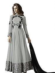 pakiza design new grey georgette partywear chain long anarkali suit dress material
