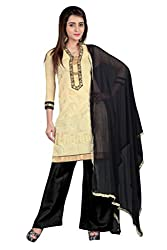 BanoRani Beige & Black Color Chanderi Embroidery,Zari & Lace Unstitched Dress Material