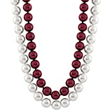 Trendy Souk -- Dakshi -- South Sea Shell (6-8 mm) two Strands Red and White Pearls Necklace