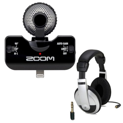 Zoom Iq5 (Black) Stereo X/Y Microphone For Iphone, Ipad, And Ipod With Closed-Back Headphones Bundle
