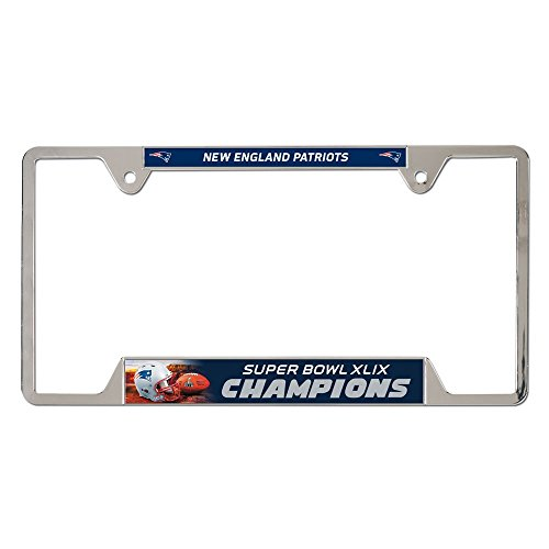 New England Patriots 2015 Super Bowl XLIX Champions Chrome License Plate Frame (Super Bowl Merchandise Patriots compare prices)