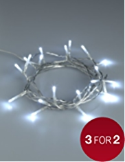 20 White Battery LED Christmas Lights