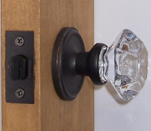 Perfect Reproduction 6 Point Princess Old Town 24% Lead Crystal Interior Passage Knob Sets with OIL Rubbed Bronze Over Solid Brass Retrofit Rosettes. More Facet Dimensions Previously Only Available At a Much Higher Price Points. Must See to Believe