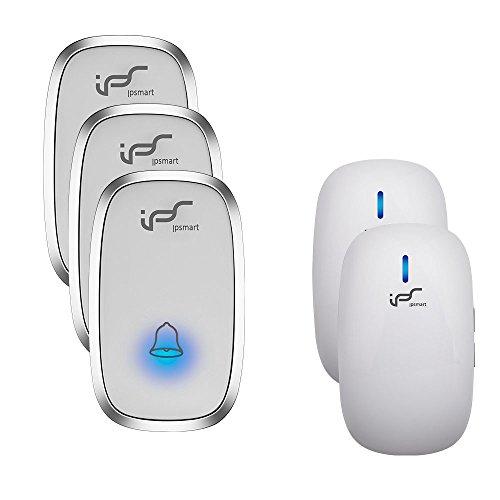 IPS Wireless Doorbell Kit Portable Waterproof Push Button 3 Transmitters & 2 Door Chimes 36+ Chimes over 900ft Long Range (3T2)
