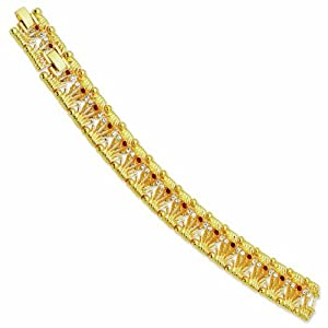 Gold-plated Swarovski Crystal Red Bridge 7In with 1In extension Bracelet