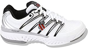 K-Swiss BigShot Men's Tennis Shoe - White/Silver/Black (9.5)