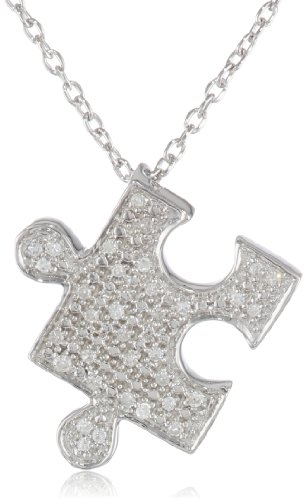 """Sterling Silver With Diamond-Accent Puzzle Pendant Necklace (0.10 Cttw, I-J Color, I2-I3 Clarity), 18"""""""