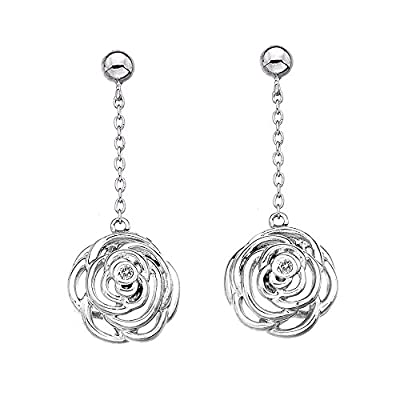 Hot Diamonds Eternal Rose Long Drop Earrings